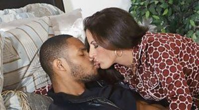Sultry mature brunette Melissa Monet sucks and fucks a hard black dong
