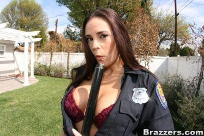 Mature babe in uniform Cheyenne Hunter gets a big black cock