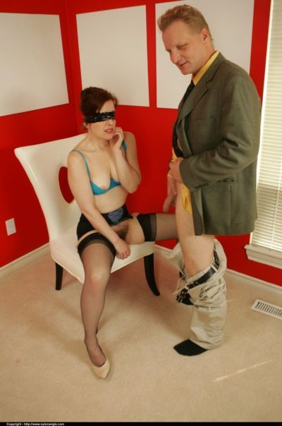 Blindfolded mature lady Dirty Angie sucks a cock and gets toyed