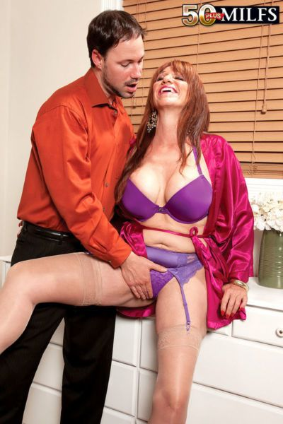 Middle-aged housewife Sheri Fox fucks her younger lover on the side