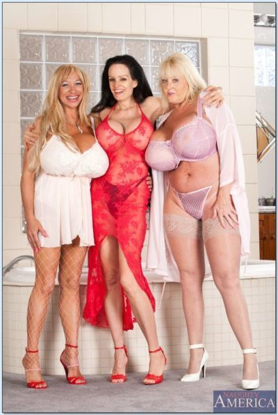 Three mature hotties revealing chubby juggs and tight cunts