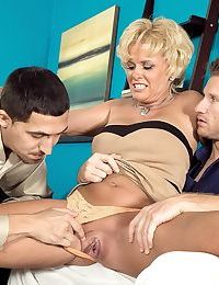 Two guys with powerful cocks are here to fuck mature Trixie Blu in each hole