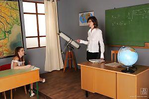 Hot schoolgirl Nicole Sweet gets seduced by her lesbian mature teacher