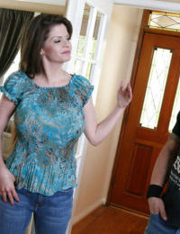 Outstanding brunette June has large melons and deep throat for a dick