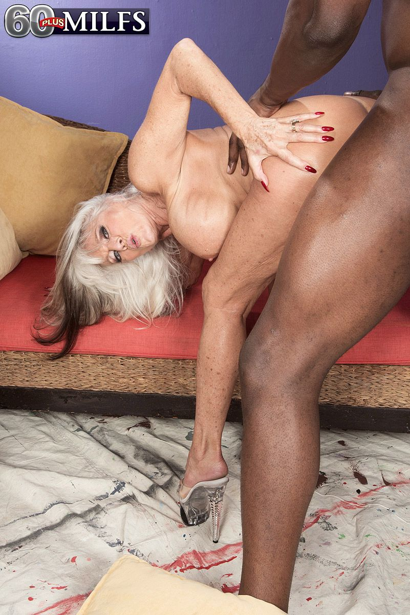 Horny older Sally DAngelo enoys big cock hanjob & interracial doggystyle fuck