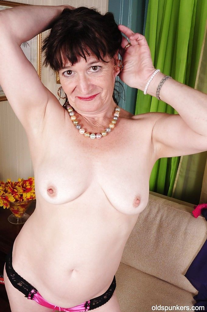 Tiny tits granny Anna teases her hard nipples in high heels