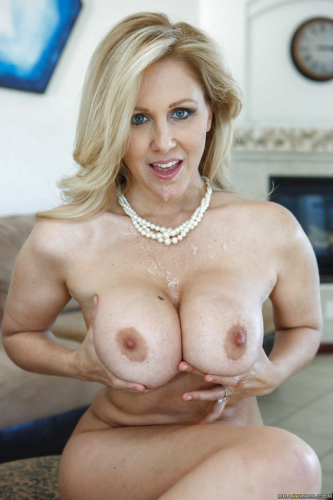 Mature seductress gets fucked and takes cum between her big tits