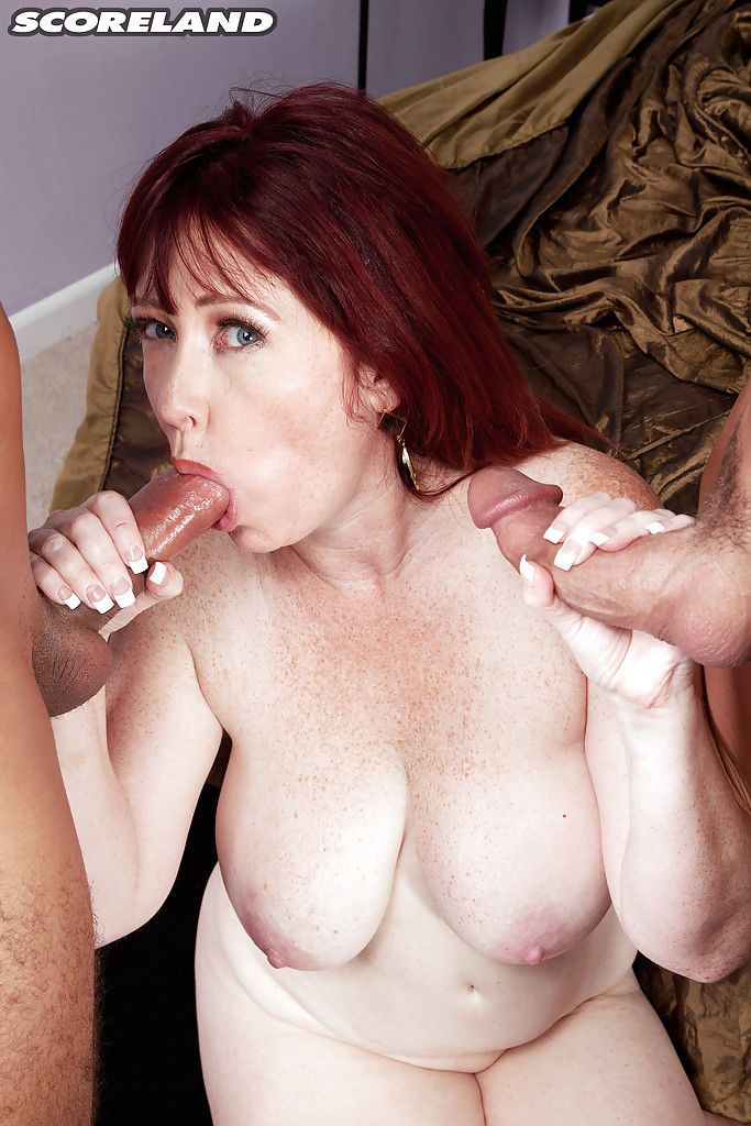 Plump older woman Heather Barron having sex with 2 men at same time - part 2