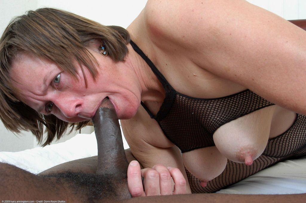 Marie throats the big black cock until fully jizzed on her mature face