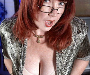 Freckled redhead Heather Barron unleashing large mature..