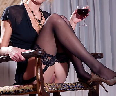 Black stockings with lace tops on..