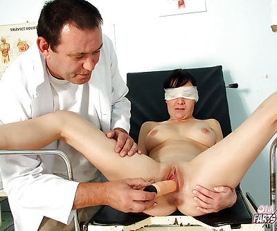 Brunette chick is blindfolded and..