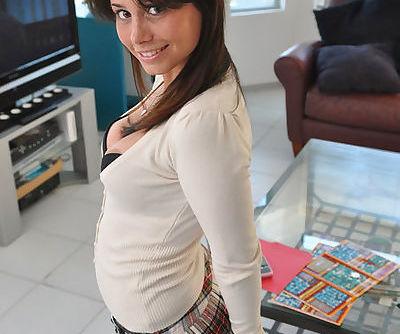 She wears a sexy schoolgirl..
