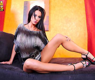 Naughty brunette loves stretching..