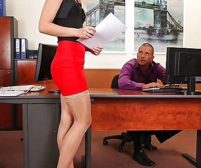 Horny office girl with long legs..