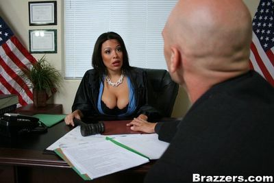 Busty latina MILF Sienna West is fucked hardcore on her office table