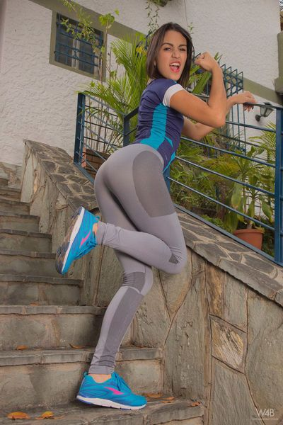 Tiny titted fitness girl Camila Saint doffs yoga pants to spread pussy outside