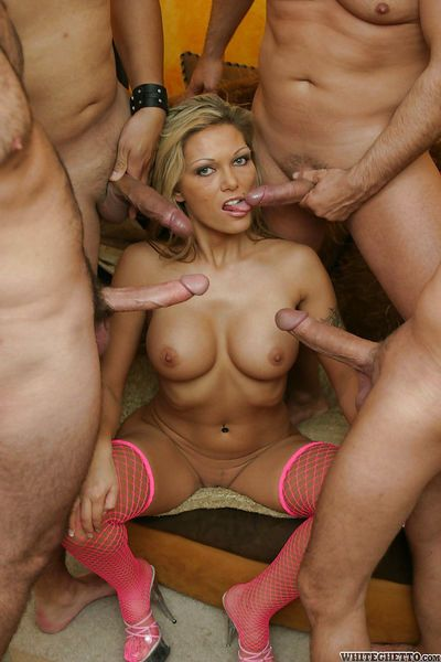 Ana Nova gets her face completely glazed with cum after a groupsex