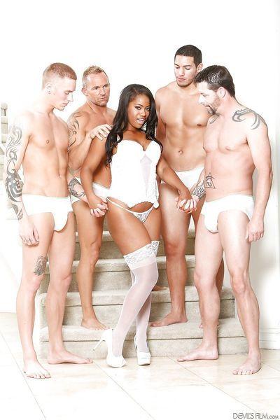 Ebony slut Monique Symone shows big tits & gets covered in cum in hot blowbang