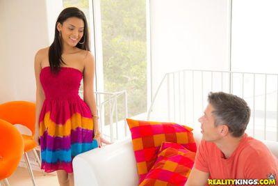 Beautiful Latina female showing off sexy upskirt ass before banging big dick