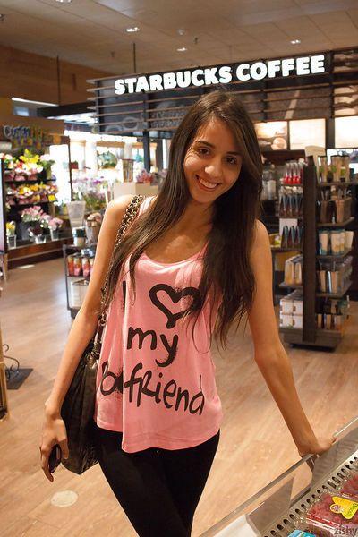 Pretty Latina amateur Inez Saldero posing non nude in cougar bathing suit