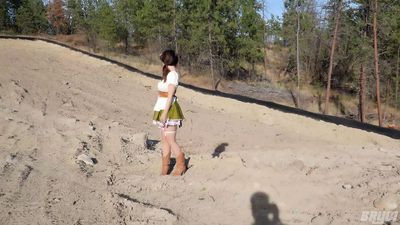 Hitchhiker in revealing Swiss clothing & pigtails swallows a mouthful of cum