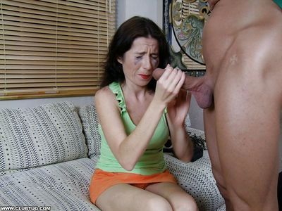 Submissive mature brunette gives a handjob and gets a facial cumshot