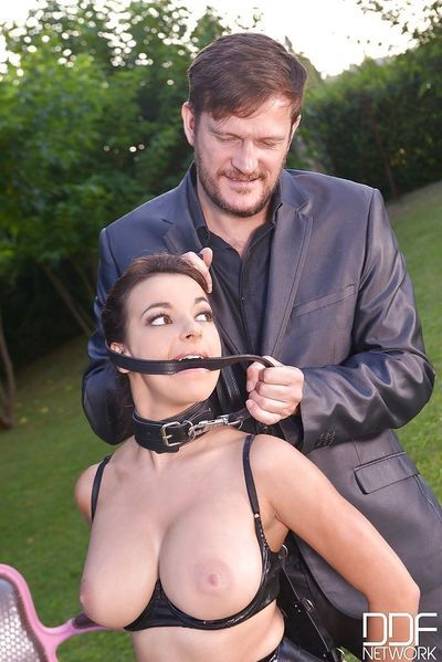 Collared Euro sex slave Sophia Laure taking hardcore butt fucking
