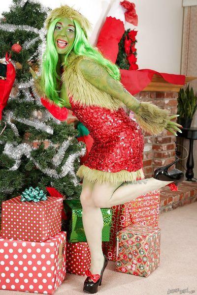 Tattooed cosplay girl Joanna Angel in costume spreading ass wide in heels