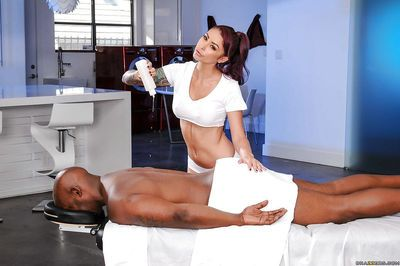 MILF masseuse Monique Alexander getting tag teamed by two hung black men