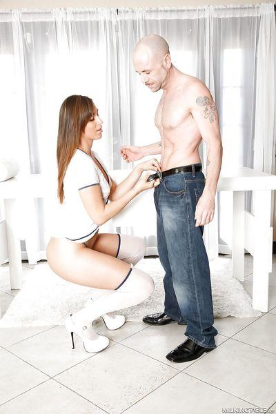 Masseuse Rilynn Rae giving handjob & gloryhole blowjob in sheer lingerie
