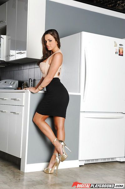 Hot wife Abigail Mac sliding black skirt over phat ass and long legs