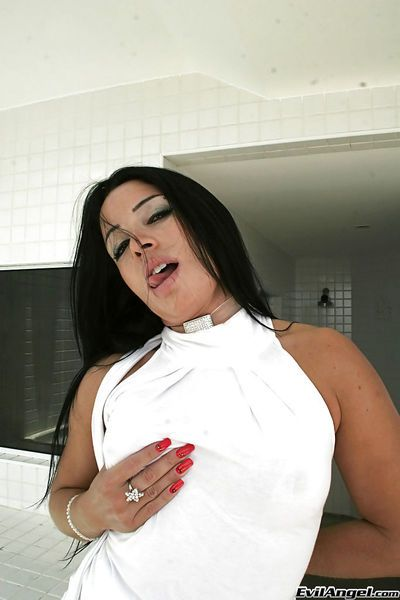 Sultry latina Monica Santhiago slipping off her clothes and teasing her slit