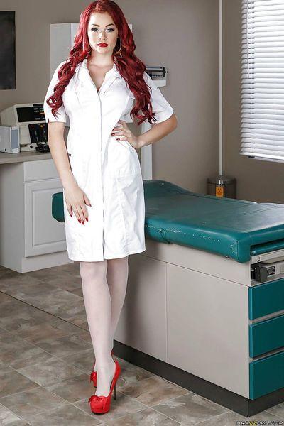 Redhead doctor Skyla Novea revealing nice tits underneath lab coat