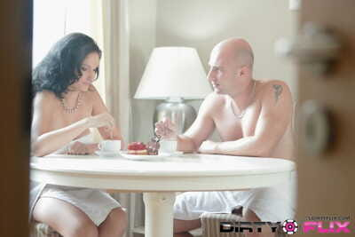 Bald man and busty mistress Diana begin morning with passionate sex