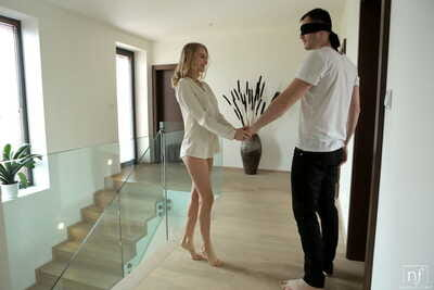 Blonde Nancy A seduces her blindfolded lover with handjob for pussy creampie
