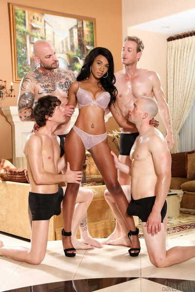 Sexy black girl Alexis Avery gets gangbanged by a group of white dudes