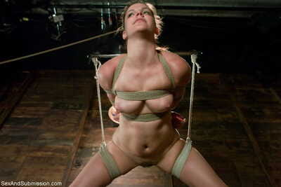 BDSM slut Bobbi Starr gets anally penetrated while hanging from the roof
