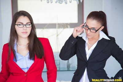 Two business women lose their starch to suck black cock in CFNM 4some