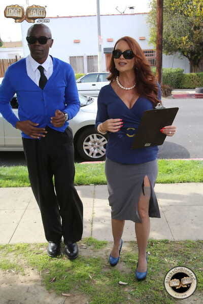 Redhead head real estate agent fulfills her fantasy of fucking two black men