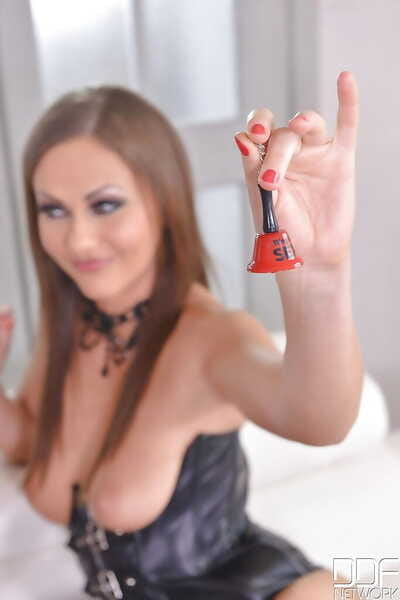 Nylon and high heel wearing chicks fuck lesbian slaved in asshole with strapon