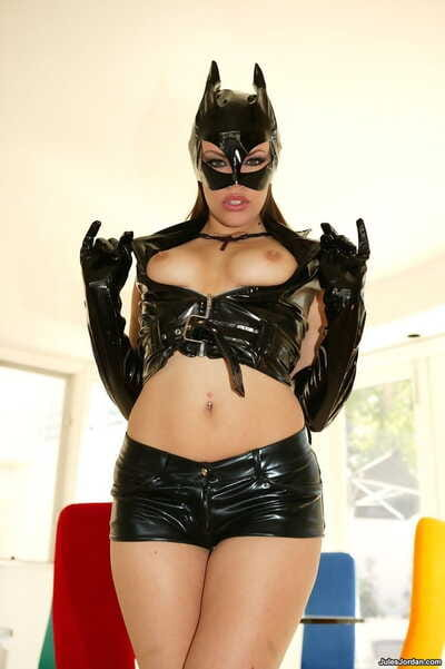 Tall MILF Gia Paloma wears Catwoman attire during hardcore MMF action