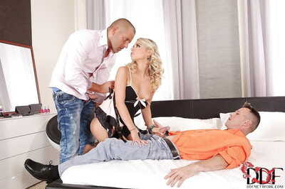 Luscious european blonde has some double penetration fun with hung guys