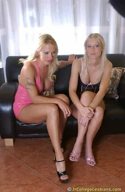 Lecherous blonde coeds have some lesbian fun playing with their sex toys