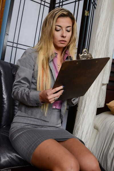 Hot older lady Alana Luv pulls panties out from her labia lips on office chair