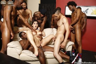 Gangbang interracial sex orgy with many black cocks