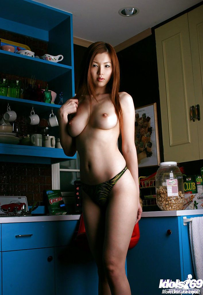 Long haired asian babe with sweet bosoms posing in panties