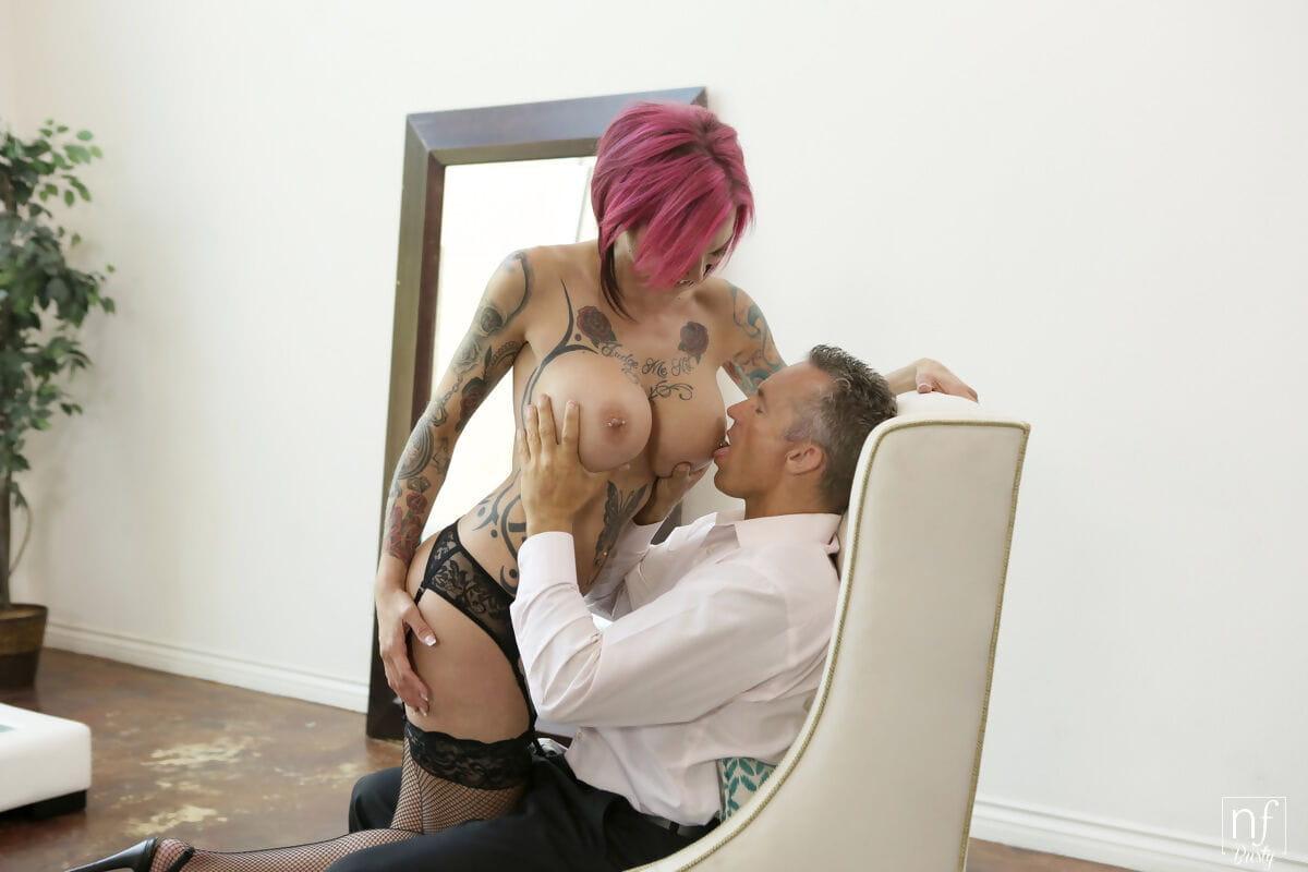 Hot tattooed Anna Bell Peaks gets her pierced round big tits covered in cum