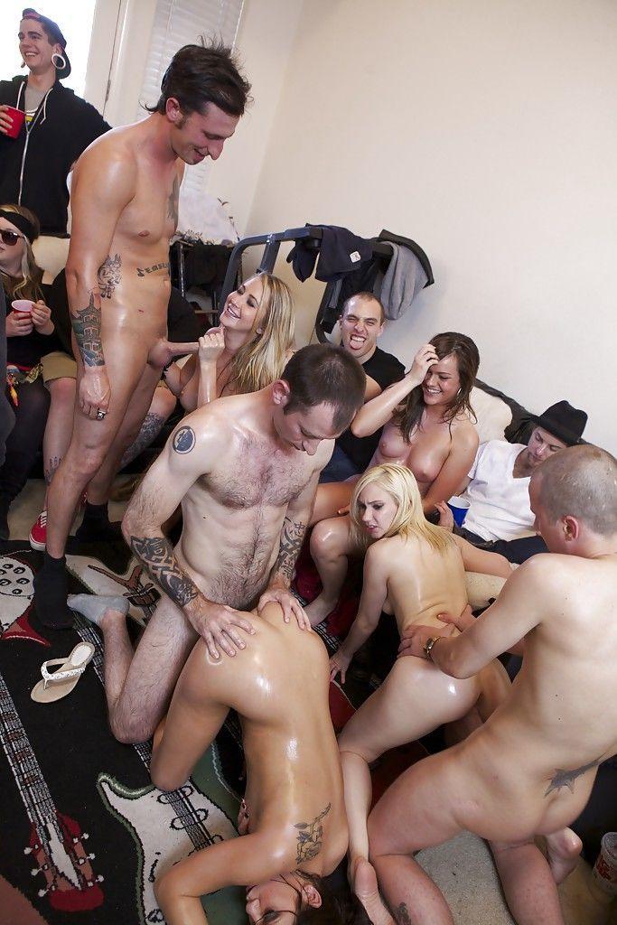 Lecherous coeds enjoy a hardcore sex orgy at the house party