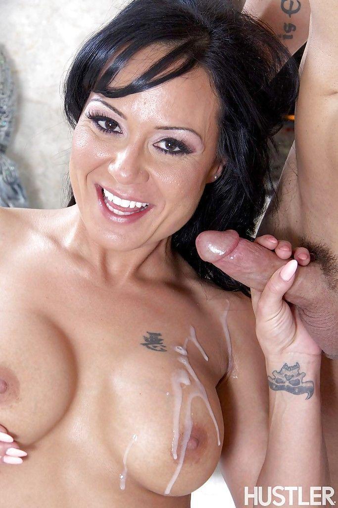 Brunette mature pornstar Mahina Zaltana sucks a cock and balls and eats sperm